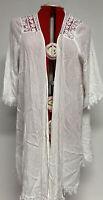 NEW Plus Size 2X Ivory White Gauze Lace Crochet Boho Kimono Duster Topper
