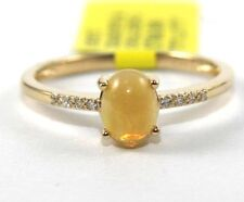 Natural Oval Opal Gemstone & Diamond Solitaire Ring 14k Yellow Gold .53Ct