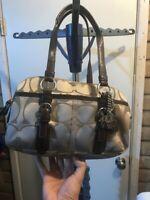 COACH Hampton Gold  Shoulder Bag #G0871-12688 Gold/brown with Coach dangle