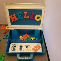 Fisher Price Vintage 1990 PLAY DESK School w Letters & 10 Stencils #176