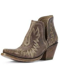 Womens Ariat Dixon Distressed Brown Snip Toe Booties 10031487