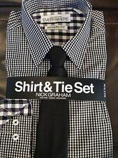 Nick Graham Everywhere Shirt Modern Fit Contrasting Cuffs Check Plaid Black