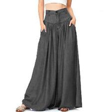 Womens Summer Wide Leg High Waist Loose Casual Long Pants OL Trousers Palazzo