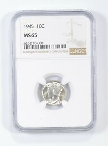 MS65 1945 - Mercury Silver Dime - NGC Graded *675