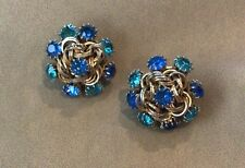 Vintage Earrings Signed Hattie Carnegie Clip On 2 Shades Of Blue Gold Tone Circl