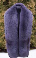 "Platinum Saga Furs Shadow Gray Fox Fur Huge 70"" Shoulder Wrap Boa Stole Scarf"