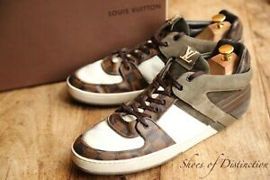 Louis Vuitton White Brown Damier Leather  Shoes Trainers Sneakers UK 9.5 US10.5