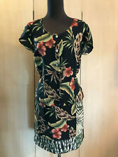 Vtg 80s 90s Tropical Animal Print Faux Wrap Skirt Top Outfit 8-10 Vacation Beach