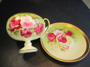 Antique Royal Austria Rose Pompadour Pink & Red Roses Artist Signed Cup & Saucer