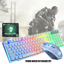Wired LED Backlit Usb Gaming Keyboard + Gamer Mouse Sets for PC Laptop PS4