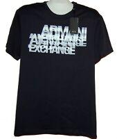 Armani Exchange Navy White Logo Design Cotton Men's T-Shirt Size XL Slim Fit