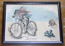 """OTHAR HOLMBOE 1896 Framed Color Print """"Triumfator"""" Vintage Racist African & Lion"""