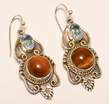 STERLING SILVER TIGER'S EYE & SWISS BLUE TOPAZ DANGLE EARRINGS GENUINE GEMSTONES