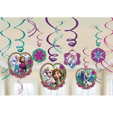 12 Disney Frozen Elsa Anna Birthday Party Hanging Cutout Swirls Decorations