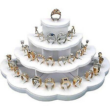 29 Slot Counter-Top Ring Display White Leather 4 Tier Design