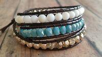 Leather wrap bracelets for women, czech glass beads, aqua, gold, handmade in USA