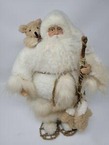 "TJ Santas by Tina Mitchell Ivory Snowshoe 17"" Santa"