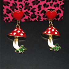 Crystal Betsey Johnson Women Stand Earrings New Red Enamel Heart Cute Mushroom