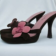 Somethin'else Skechers Brown Pink Suede Leather w Flower Vamp Sandals Heels 6.5