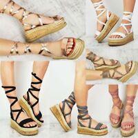 Womens Ladies Flatform Cork Espadrille Wedge Sandals Roman Ankle Lace Up Shoes