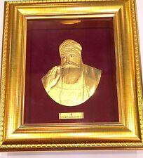3D RAISED 24kt Solid Gold Sikh Punjabi Guru Nanak Idol Frame