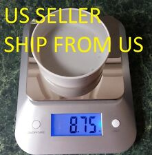 Digital Kitchen Scale Stainless Steel Diet Food 5KG x 1g Big LCD 11lb x 0.05oz