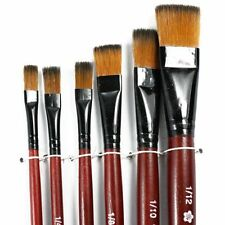 Pack of 6 Art Brown Nylon Paint Brushes for Acrylic SH