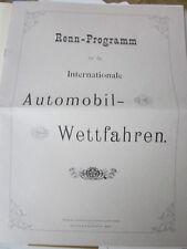 Wien Archiv Edition 1050 Rennprogramm Autorennen 22.110.1899 im Prater