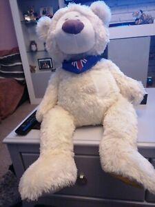 "GALA BINGO LARGE WHITE TEDDY BEAR SOFT TOY 24"" LONG"