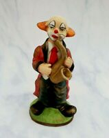 Vintage Ceramic Red Coat CLOWN Playing The SAXOPHONE Figurine *Excellent*