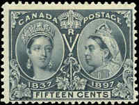 1897 Mint H Canada F+ Scott #58 15c Diamond Jubilee Stamp