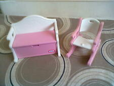 Little Tikes Dollshouse Toy Bench/Box & Rocking Chair - VHTF FREE POSTAGE