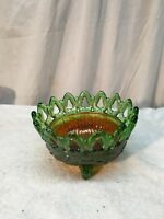 Vintage Northwood Carnival Glass Candy Dish Green Iridescent Footed Bowl