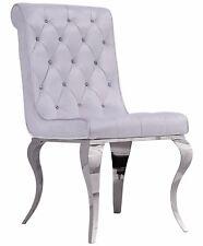 Glamour Fauteuil Chrome Chaise Blanc Velours Louis Vintage Acier Argent Salon