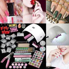 Pro Completa 24W Rosa 12 Color de Lámpara secadora de curado UV Gel Arte en Uñas Pincel Kit conjunto de herramientas
