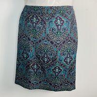 Talbots Womans Petites Womens Skirt Sz 16WP Blue Print Corduroy Knee Length SC24