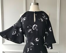 | COUNTRY ROAD | cut away shoulder floral midi dress black | NEW | SIZE: 14 |