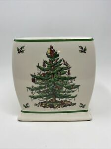 Spode Christmas Tree Ceramic Square Kleenex Tissue Holder Cover Holiday