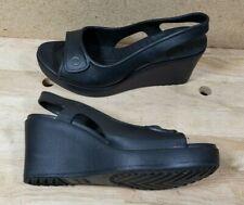 Crocs Black Wedge Sandals Heels Slides  SZ 10