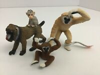 Schleich Monkeys Lot Of 3 Mixed Set Baboon Baby Gibbon