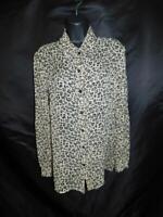 Dana Buchman Size 12 M Brown Leopard Print Silk Blouse Sheer Shirt Long Sleeve