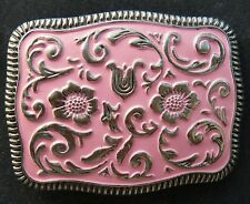 Western Belt Buckle Pink Flowers Cowgirl Belts Buckles Boucle de Ceinture