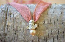 TOP!!! Engel Anhänger 925 Silber 750 Gold Perle rosa SWZP Schutz Amulett Kette