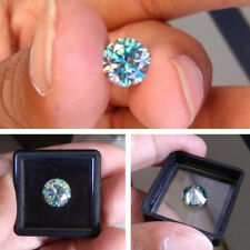 1.62 Ct 7.9 Mm Fancy Vivid Blue Round Brilliant Diamond Cut Moissanite For Ring