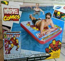 SwimWays Marvel Comic Book Float - Iron Man POOL LAKE TOY Inflatable Raft NIB