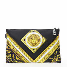 new VERSACE black gold baroque Medusa print cotton  top zip clutch pouch bag