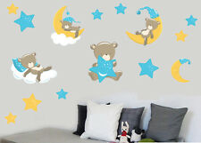 Childrens Teddybears & Stars - Blue - 15 Pack Wall Stickers Nursery Teddy Bears