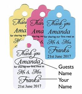 """Personalised Wedding tags with guest names """"First Meal Tags"""" any colours"""
