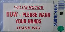 POLITE NOTICE NOW-PLEASE WASH YOUR HANDS TOILET  STICKER 65x110 mm