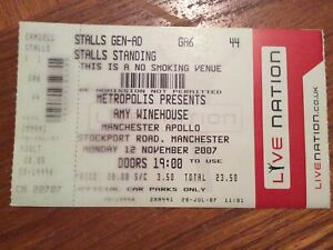Amy Winehouse 12 November 2007 Manchester Apollo Concert Ticket Cancelled Show